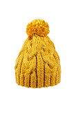 winter soft warm yellow knitted hat with braids patterns handmade isolated