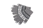 Knitted woolen grey gloves isolated on white background.