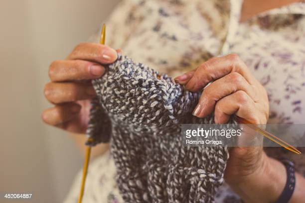 Knitting woman hands