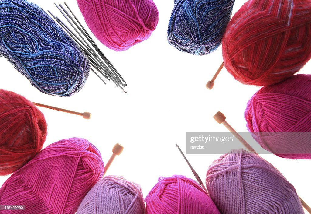 Knitting Yarn Needles And Crochet Hooks Frame Stock Photo Getty ...