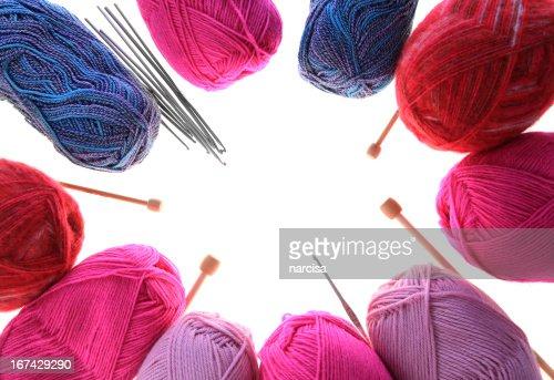 Knitting Wallpaper Uk : Knitting yarn needles and crochet hooks frame stock photo