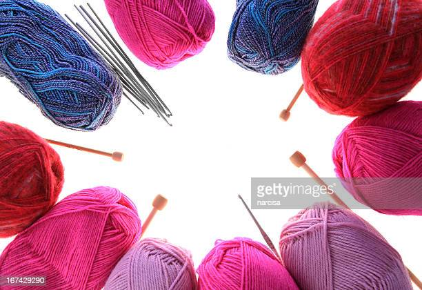 Knitting yarn, needles and crochet hooks frame
