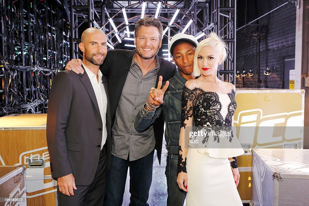 THE VOICE -- 'Knockout Rounds' -- Pictured: (l-r) <a gi-track='captionPersonalityLinkClicked' href=/galleries/search?phrase=Adam+Levine+-+Singer&family=editorial&specificpeople=202962 ng-click='$event.stopPropagation()'>Adam Levine</a>, <a gi-track='captionPersonalityLinkClicked' href=/galleries/search?phrase=Blake+Shelton&family=editorial&specificpeople=2352026 ng-click='$event.stopPropagation()'>Blake Shelton</a>, <a gi-track='captionPersonalityLinkClicked' href=/galleries/search?phrase=Pharrell+Williams&family=editorial&specificpeople=161396 ng-click='$event.stopPropagation()'>Pharrell Williams</a>, <a gi-track='captionPersonalityLinkClicked' href=/galleries/search?phrase=Gwen+Stefani&family=editorial&specificpeople=156423 ng-click='$event.stopPropagation()'>Gwen Stefani</a> --