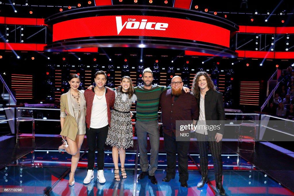THE VOICE -- 'Knockout Rounds' -- Pictured: (l-r) Lilli Passero, Mark Isaiah, Hanna Eyre, Adam Levine, Jesse Larson, Josh West --