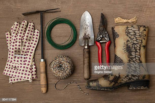 Knolling gardening tools