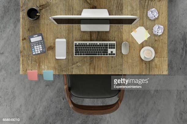 con un monitor de pc y una silla de escritorio Knolling escena