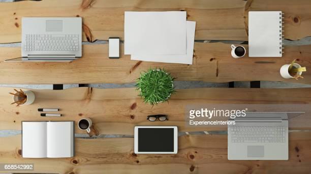 Trabajo en equipo de Knolling vista de escritorio empresarial