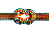 Knot with eight ropes of different colors.  The ropes are red, blue, yellow and green in color.