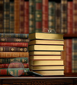 """""""Library Scene with Books, Magnifying Glass and Eyeglasses."""""""