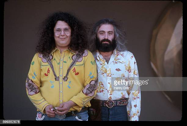 Known as 'Flo and Eddie' the singers Mark Volman and Howard Kaylan stand by a wall wearing very loud shirts Volman and Kaylan were founding members...