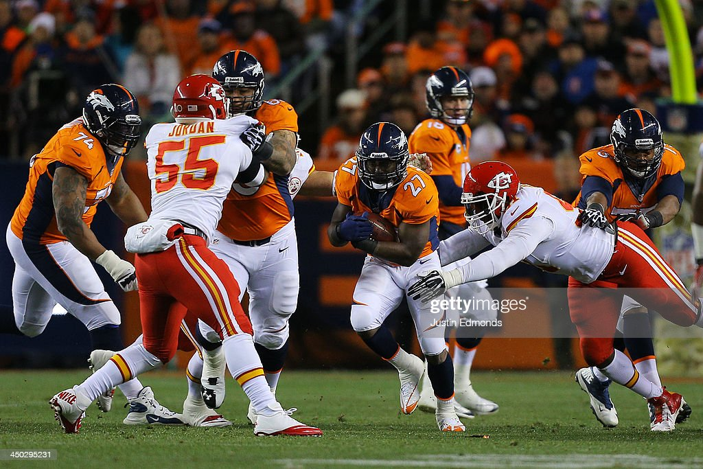 <a gi-track='captionPersonalityLinkClicked' href=/galleries/search?phrase=Knowshon+Moreno&family=editorial&specificpeople=3986554 ng-click='$event.stopPropagation()'>Knowshon Moreno</a> #27 of the Denver Broncos carries the ball for 4 yards in the first quarter against the Kansas City Chiefs at Sports Authority Field at Mile High on November 17, 2013 in Denver, Colorado.