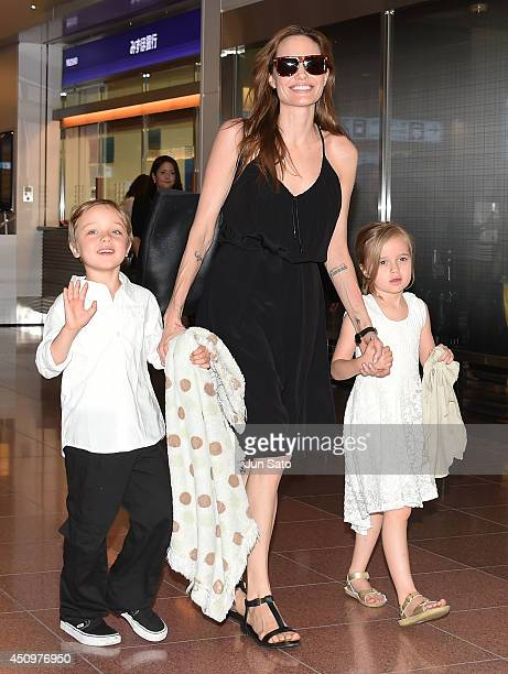 Knox JoliePitt Angelina Jolie and Vivienne JoliePitt are seen upon arrival at Haneda Airport on June 21 2014 in Tokyo Japan