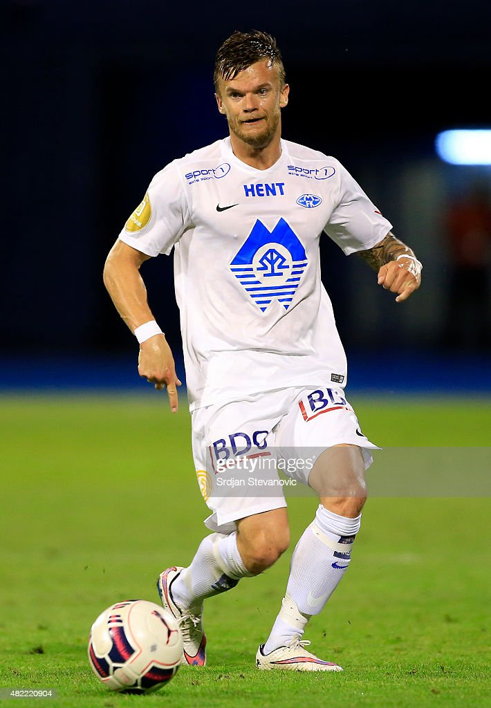 Knut Olav Rindaroy of FC Molde in action during the UEFA Champions League Third Qualifying Round 1st Leg match between FC Dinamo Zagreb and FC Molde...