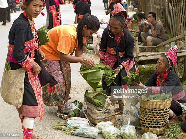 Ko Pala ethnic minority women walk several kilometres from their villages to sell their home grown products to local people at Pak Nam Noi market...