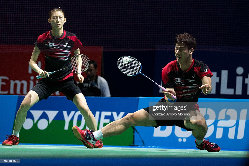 Ko Sung Hyun and Kim Ha Na of Korea in action in the Final Mixed Double match against Chris Adcock adn Gabrielle Adcock of England during day five of the BWF Dubai World Superseries 2015 Finals at the Hamdan Sports Complex on on December 13, 2015 in Dubai, United Arab Emirates.