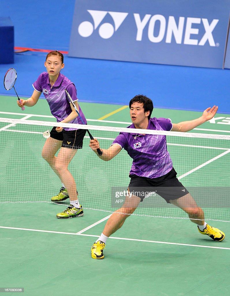 Ko Sung Hyun R and Kim Ha Na of South Korea hit in return