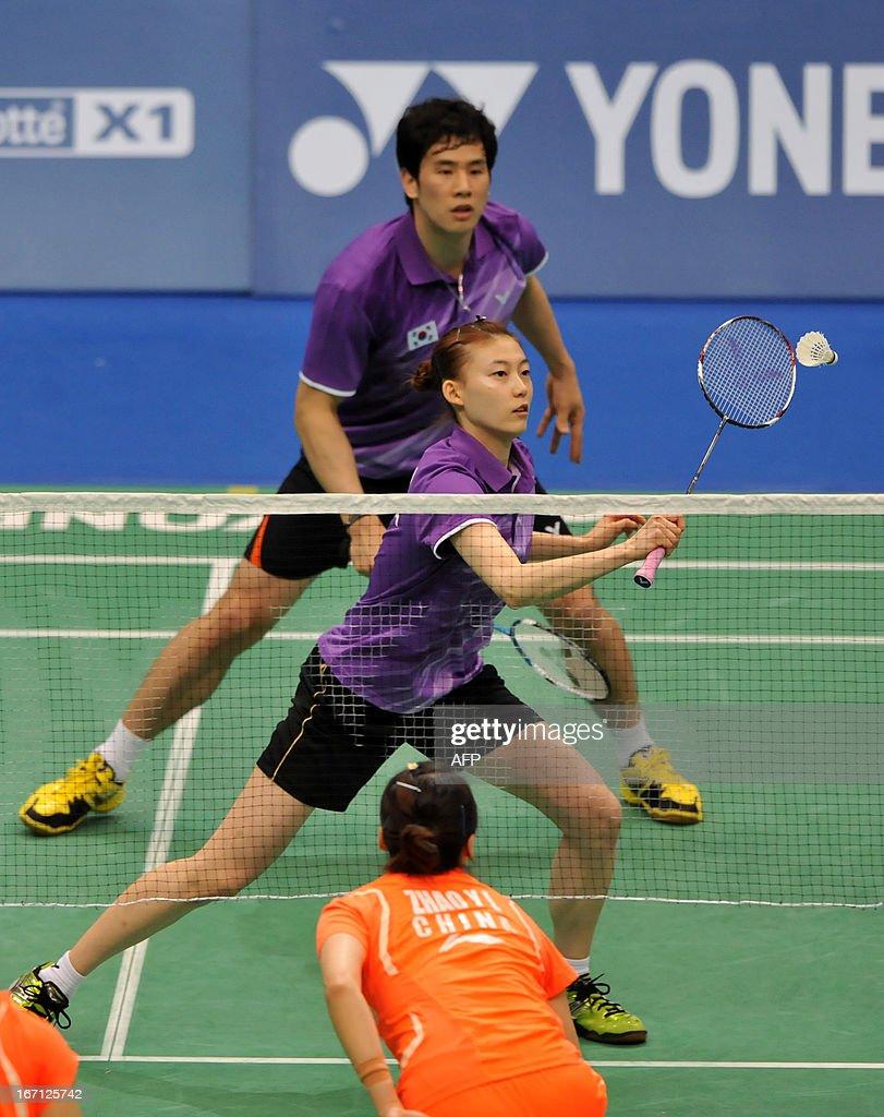 Ko Sung Hyun C and Kim Ha Na of South Korea hit in return