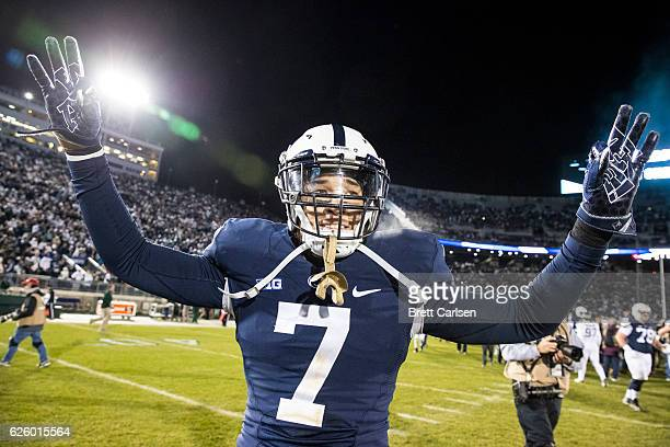 Koa Farmer of the Penn State Nittany Lions celebrates after the game against the Michigan State Spartans on November 26 2016 at Beaver Stadium in...