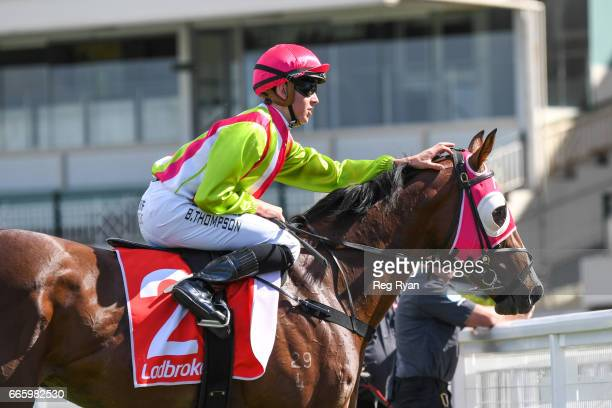 Kobayashi ridden by Ben E Thompson returns to scale after wining the Wellington RC Handicap at Caulfield Racecourse on April 08 2017 in Caulfield...