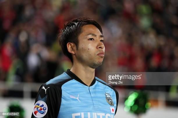 Kobayashi Yu of Kawasaki Frontale looks on during 2017 AFC Asian Champions League group match between Guangzhou Evergrande Taobao FC and Kawasaki...