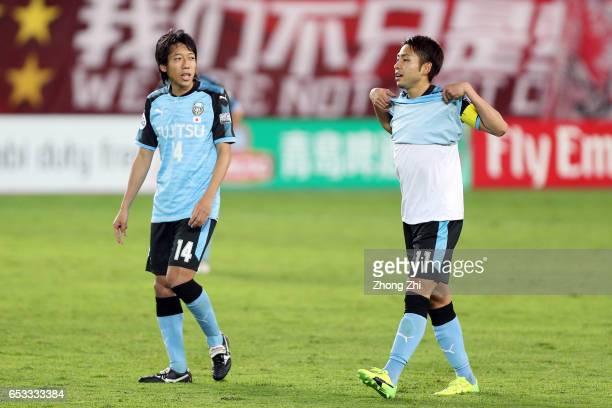 Kobayashi Yu of Kawasaki Frontale looks on with Nakamura Kengo of Kawasaki Frontale during 2017 AFC Asian Champions League group match between...