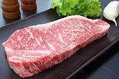 Kobe beef with garlic,salt and pepper