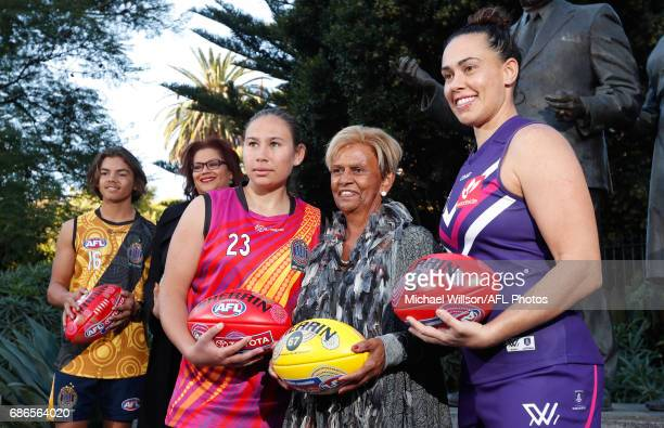 Kobe Brown AFL General Manager Inclusion and Social Policy Tanya Hosch Krstel Petrevski Sir Doug Nicholls' daughter Aunty Pam Pedersen and Kirby...
