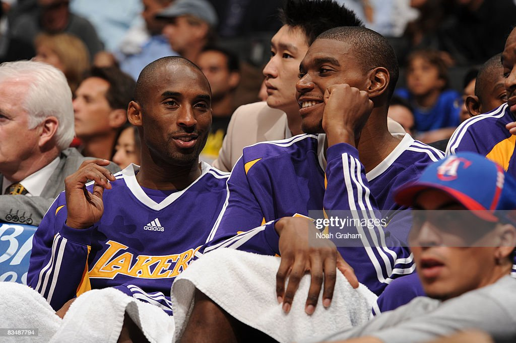 Kobe Bryant #24 (L) and Andrew Bynum #17 (R) of the Los Angeles Lakers watch the game against the Los Angeles Clippers from the bench at Staples Center on October 29, 2008 in Los Angeles, California.