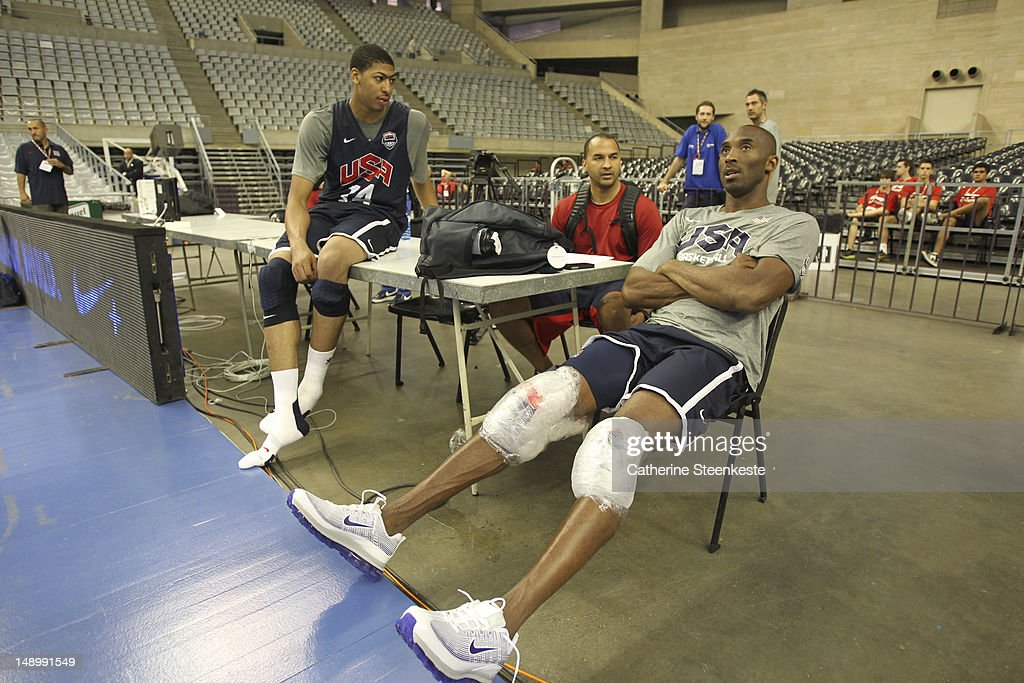 <a gi-track='captionPersonalityLinkClicked' href=/galleries/search?phrase=Kobe+Bryant&family=editorial&specificpeople=201466 ng-click='$event.stopPropagation()'>Kobe Bryant</a> # 10 and Anthony Davis # 14 of the US Men's Senior National team are talking after practice at Palau Sant Jordi II arena in Barcelona, Spain on July 21, 2012.