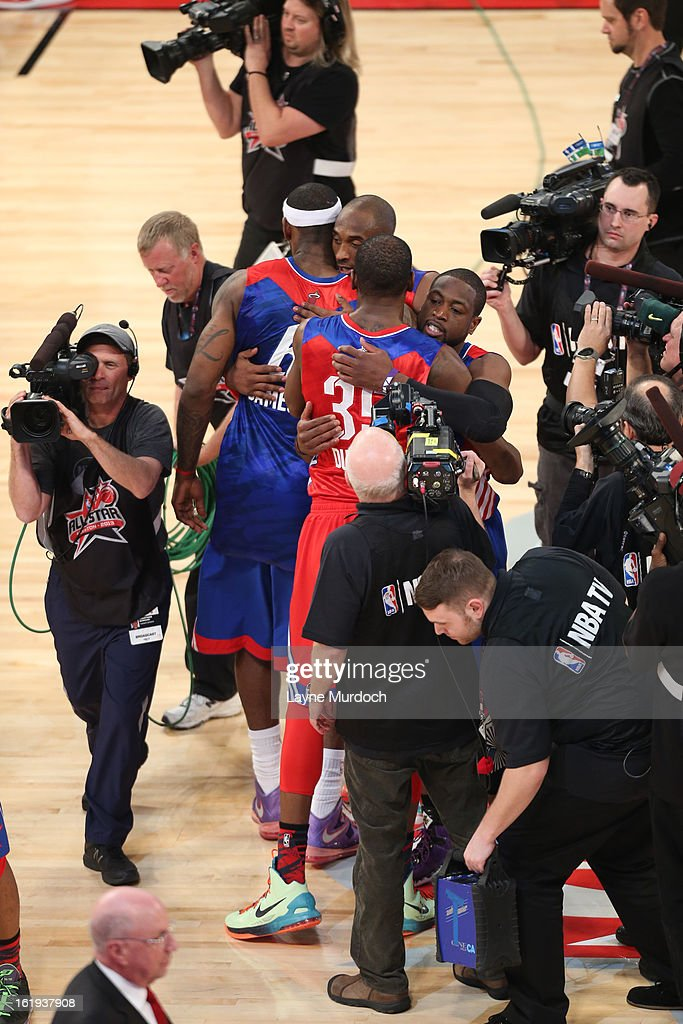 Kobe Bryant and Kevin Durant #35 of the Western Conference All-Stars hug LeBron James #6 and Dwyane Wade #3 of the Eastern Conference All-Stars during the 2013 NBA All-Star Game during All Star Weekend on February 17, 2013 at the Toyota Center in Houston, Texas.