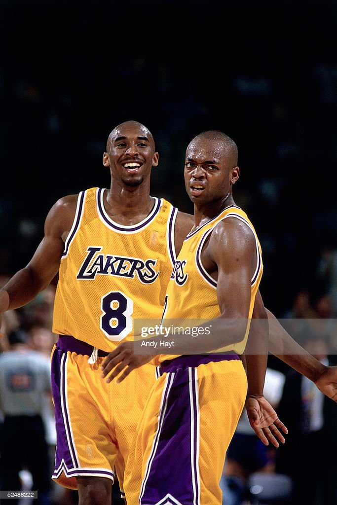 d81293c34e1 ... Kobe Bryant 8 and Nick Van Exel 9 of the Los Angeles Lakers share ...