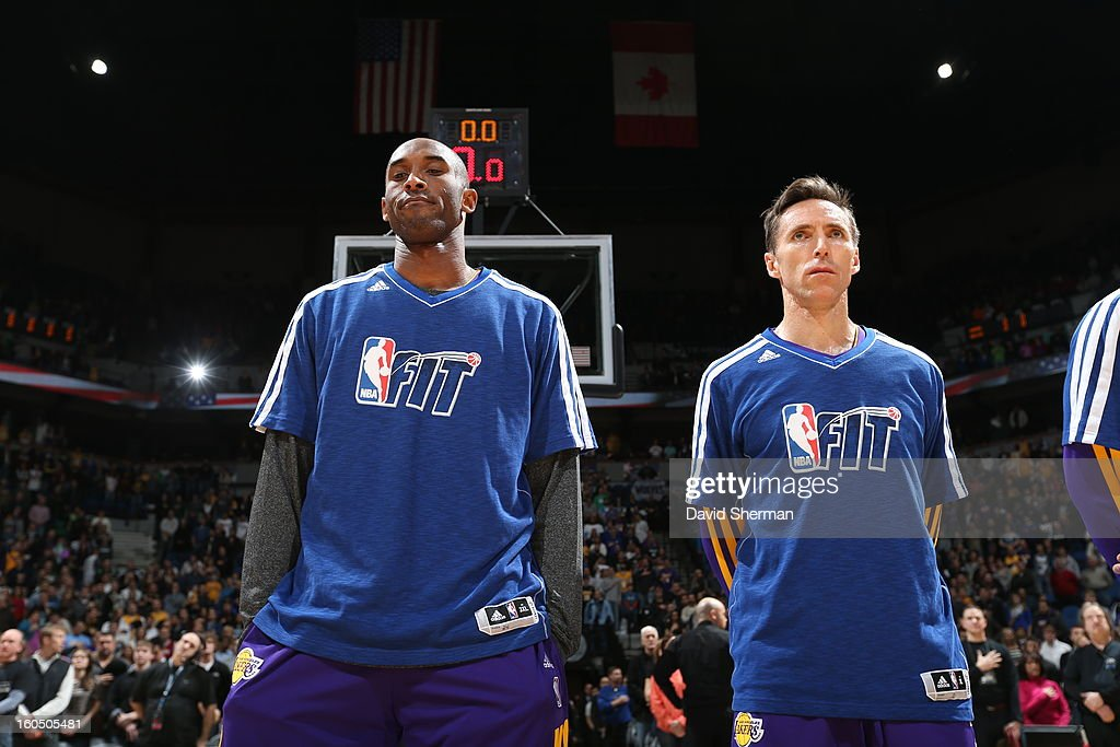Kobe Bryant #24 and Steve Nash #10 of the Los Angeles Lakers look on before the game against the Minnesota Timberwolves during the game on February 1, 2013 at Target Center in Minneapolis, Minnesota.
