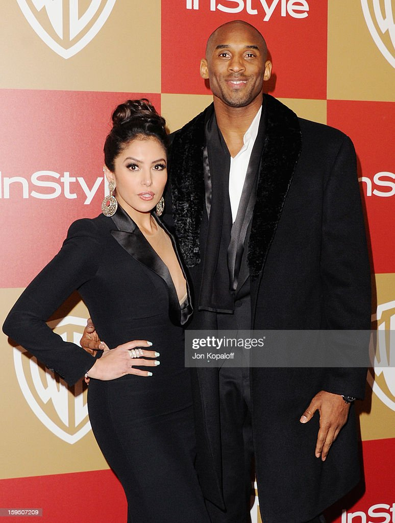 Kobe Bryant and wife Vanessa Laine Bryant arrive at the InStyle And Warner Bros. Golden Globe Party at The Beverly Hilton Hotel on January 13, 2013 in Beverly Hills, California.