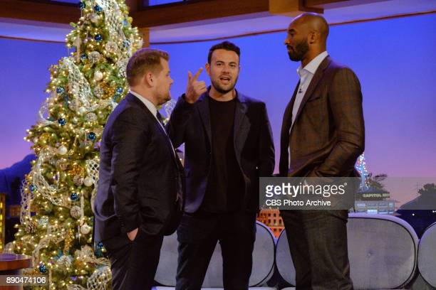 Kobe Bryant chats with James Corden and Ben Winston during 'The Late Late Show with James Corden' Wednesday December 6 2017 On The CBS Television...
