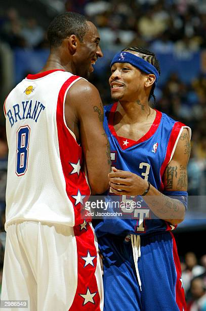 Kobe Bryant from the Los Angeles Lakers of the Western Conference AllStars share a laugh with Allen Iverson from the Philadelphia 76ers of the...