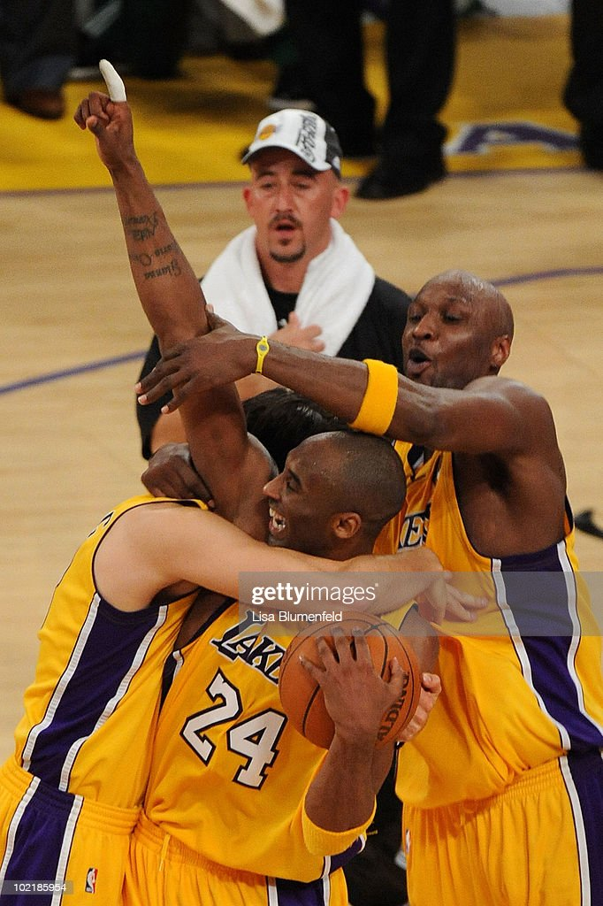<a gi-track='captionPersonalityLinkClicked' href=/galleries/search?phrase=Kobe+Bryant&family=editorial&specificpeople=201466 ng-click='$event.stopPropagation()'>Kobe Bryant</a> #24, <a gi-track='captionPersonalityLinkClicked' href=/galleries/search?phrase=Lamar+Odom&family=editorial&specificpeople=201519 ng-click='$event.stopPropagation()'>Lamar Odom</a> #7 and <a gi-track='captionPersonalityLinkClicked' href=/galleries/search?phrase=Sasha+Vujacic&family=editorial&specificpeople=210542 ng-click='$event.stopPropagation()'>Sasha Vujacic</a> #18 of the Los Angeles Lakers celebrate after winning the 2010 NBA Championship 83-79 against the Boston Celtics in Game Seven of the 2010 NBA Finals at Staples Center on June 17, 2010 in Los Angeles, California.