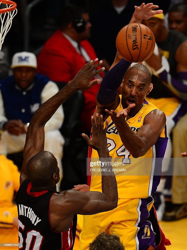 Kobe Bryant (top) of Los Angeles Lakers and Joel Anthony of Miami Heat vie for the ball during their NBA game on January 17, 2013 in Los Angeles, California. AFP PHOTO / Frederic J. BROWN