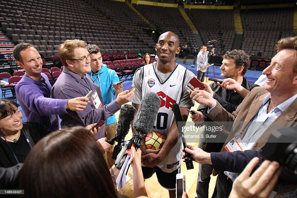<a gi-track='captionPersonalityLinkClicked' href=/galleries/search?phrase=Kobe+Bryant&family=editorial&specificpeople=201466 ng-click='$event.stopPropagation()'>Kobe Bryant</a> #10 of the 2012 US Men's Senior National Team talks to the media during a 2012 US Men's Senior National Team Practice at the Manchester Arena on July 18, 2012 in Manchester, UK.