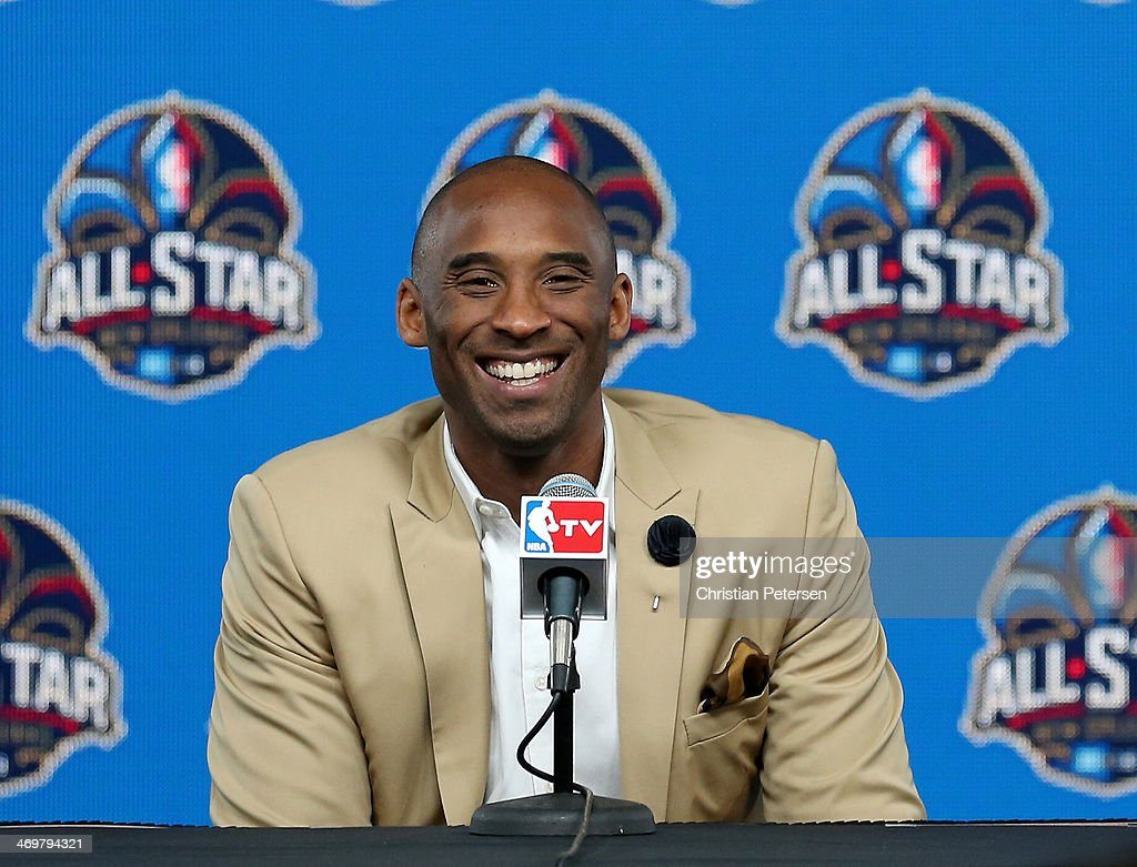 <a gi-track='captionPersonalityLinkClicked' href=/galleries/search?phrase=Kobe+Bryant&family=editorial&specificpeople=201466 ng-click='$event.stopPropagation()'>Kobe Bryant</a> of the Los Angeles Lakers addresses the media before the 2014 NBA All-Star game at the Smoothie King Center on February 16, 2014 in New Orleans, Louisiana.