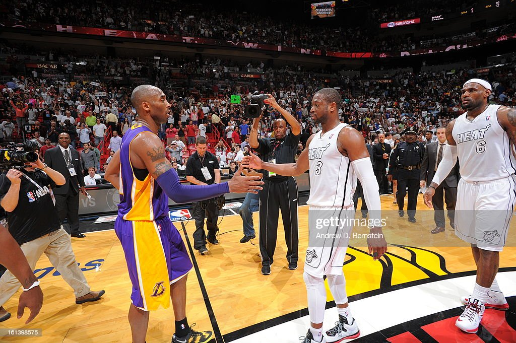 Kobe Bryant #24 of the Los Angeles Lakers and Dwyane Wade #3 of the Miami Heat congratulate each other after a game between the Los Angeles Lakers and the Miami Heat on February 10, 2013 at American Airlines Arena in Miami, Florida.