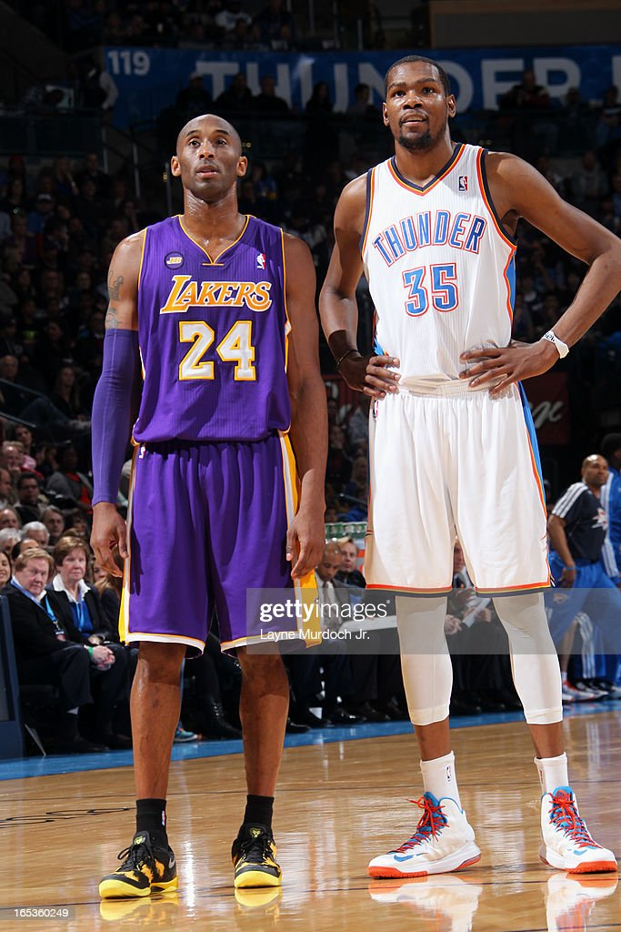 <a gi-track='captionPersonalityLinkClicked' href=/galleries/search?phrase=Kobe+Bryant&family=editorial&specificpeople=201466 ng-click='$event.stopPropagation()'>Kobe Bryant</a> #24 of the Los Angeles Lakers and <a gi-track='captionPersonalityLinkClicked' href=/galleries/search?phrase=Kevin+Durant&family=editorial&specificpeople=3847329 ng-click='$event.stopPropagation()'>Kevin Durant</a> #35 of the Oklahoma City Thunder on March 05, 2013 at the Chesapeake Energy Arena in Oklahoma City, Oklahoma.