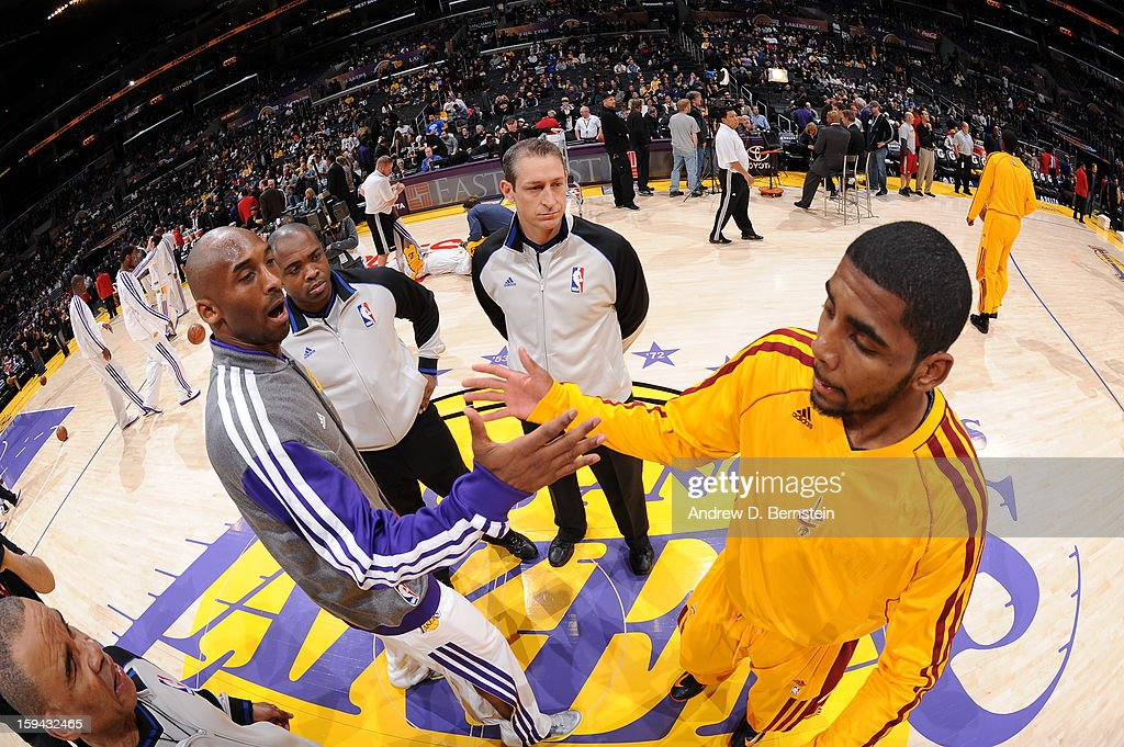 Kobe Bryant #24 of the Los Angeles Lakers and Kyrie Irving #2 of the Cleveland Cavaliers greet each other before their game at Staples Center on January 13, 2013 in Los Angeles, California.