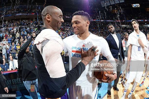 Kobe Bryant of the Los Angeles Lakers and Russell Westbrook of the Oklahoma City Thunder are seen after the game on April 11 2016 at the Chesapeake...