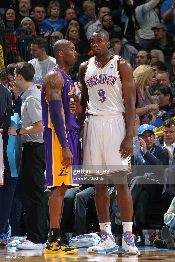 <a gi-track='captionPersonalityLinkClicked' href=/galleries/search?phrase=Kobe+Bryant&family=editorial&specificpeople=201466 ng-click='$event.stopPropagation()'>Kobe Bryant</a> #24 of the Los Angeles Lakers and <a gi-track='captionPersonalityLinkClicked' href=/galleries/search?phrase=Serge+Ibaka&family=editorial&specificpeople=5133378 ng-click='$event.stopPropagation()'>Serge Ibaka</a> #9 of the Oklahoma City Thunder stand on the court on March 05, 2013 at the Chesapeake Energy Arena in Oklahoma City, Oklahoma.
