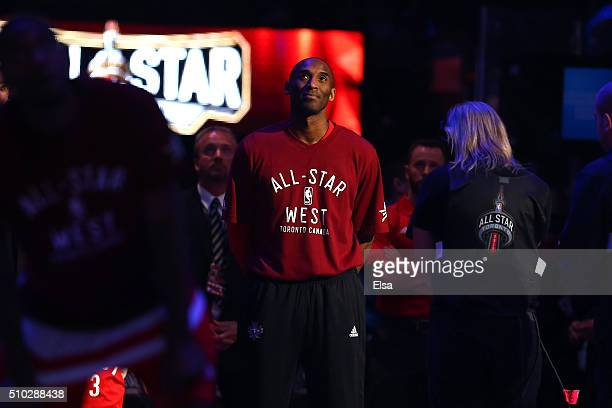 Kobe Bryant of the Los Angeles Lakers and the Western Conference watches a tribute video before the NBA AllStar Game 2016 at the Air Canada Centre on...