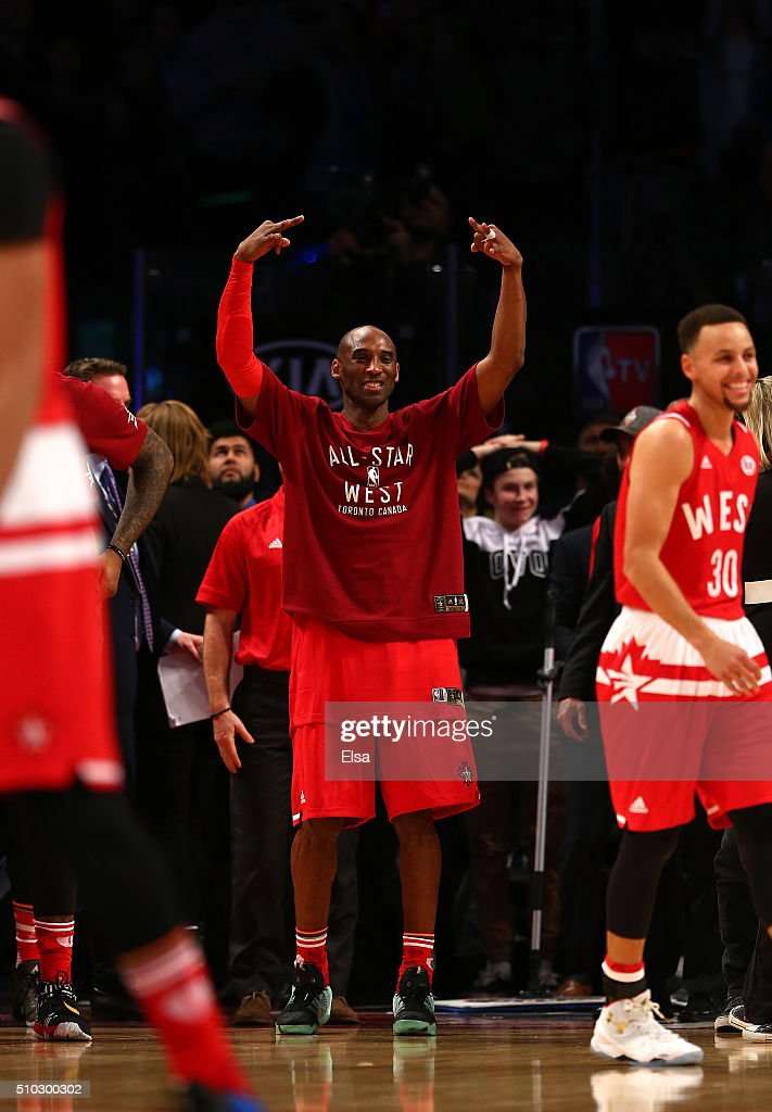 Kobe Bryant of the Los Angeles Lakers and the Western Conference reacts after a play in the second half against the Eastern Conference during the NBA...