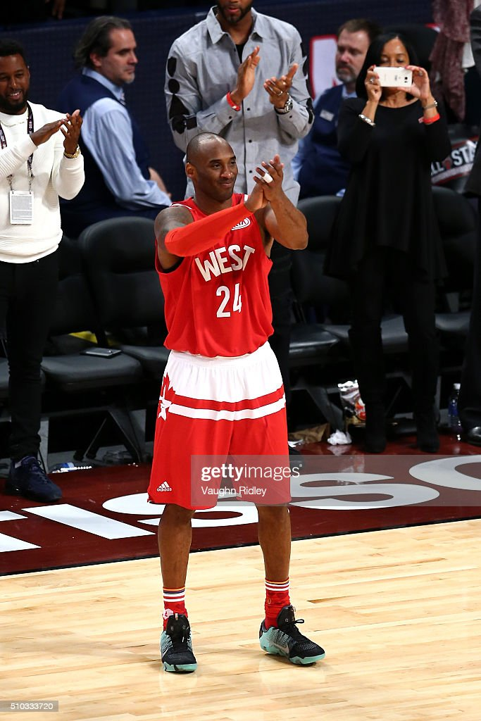 Kobe Bryant #24 of the Los Angeles Lakers and the Western Conference reacts as he walks to the bench late in the fourth quarter during the NBA All-Star Game 2016 at the Air Canada Centre on February 14, 2016 in Toronto, Ontario.