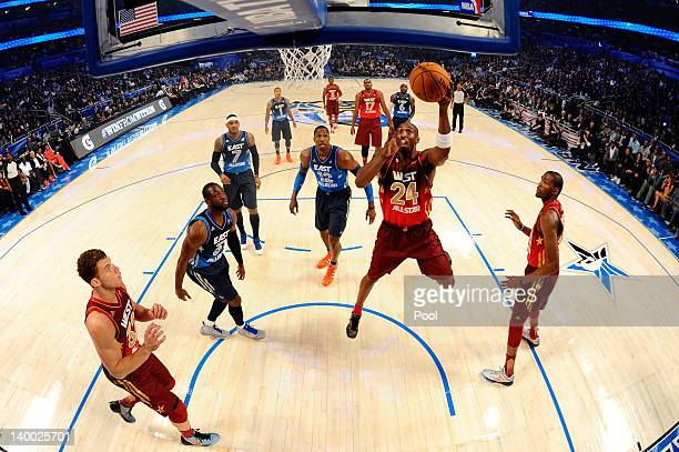 Kobe Bryant of the Los Angeles Lakers and the Western Conference drives for a shot attempt during the 2012 NBA AllStar Game at the Amway Center on...
