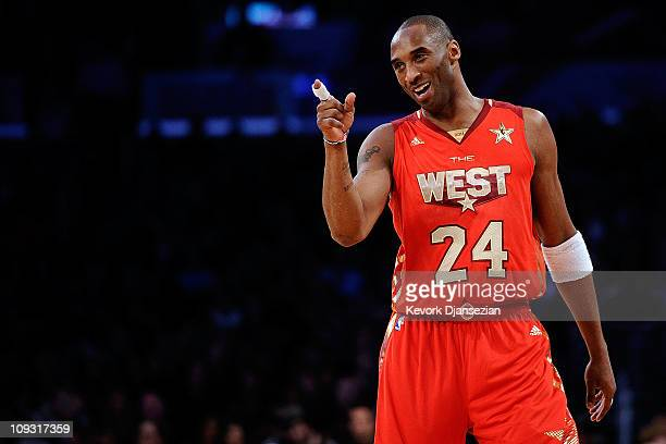 Kobe Bryant of the Los Angeles Lakers and the Western Conference points in the 2011 NBA AllStar Game at Staples Center on February 20 2011 in Los...