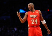 Kobe Bryant of the Los Angeles Lakers and the Western Conference reacts in the second half in the 2011 NBA AllStar Game at Staples Center on February...